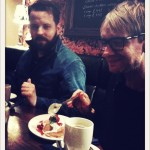 Me, Ola Hultgren & other drummer Micke Häggström went for coffee and cake in the pub before the Shepards Bush show.