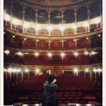Ane checking out tonight's venue, Toneelhuis in Antwerpen.
